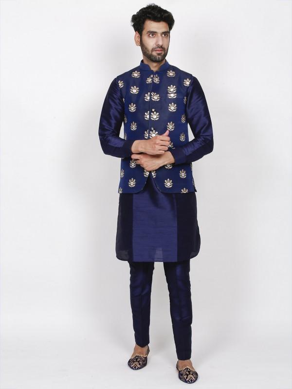 Designer Kurta Pajama Jacket Blue Colour in Silk Fabric.