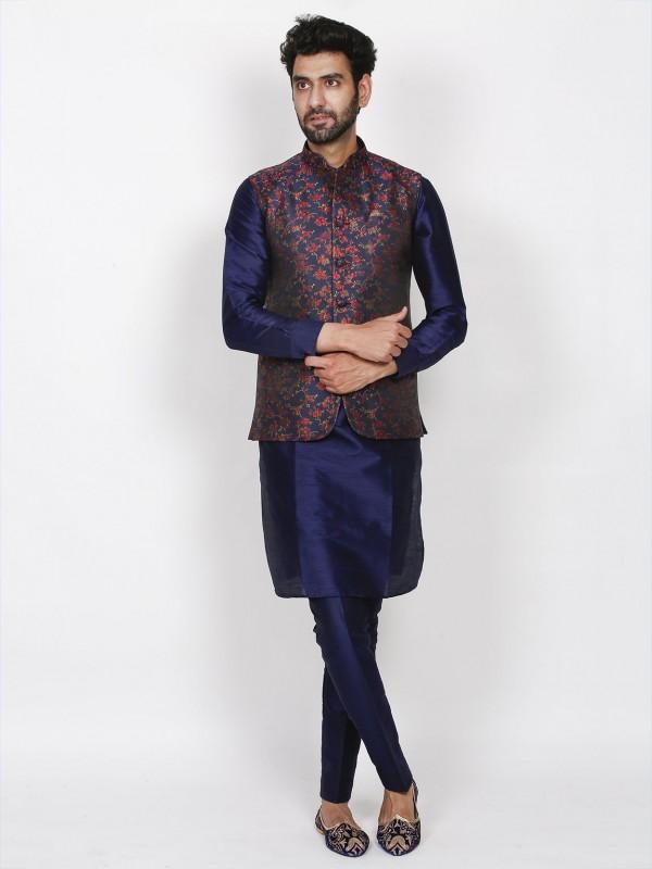 Blue Colour Imported Fabric Men's Kurta Pajama Jacket.