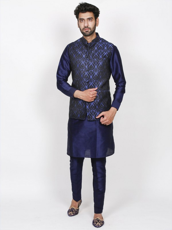 Blue Colour Silk Men's Kurta Pajama Jacket.
