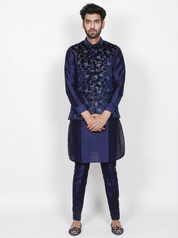 Blue Colour Velvet,Silk Fabric Party Wear Kurta Pajama Jacket.