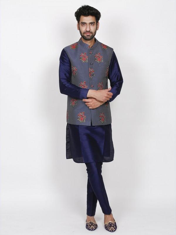 Blue Colour Imported Fabric Designer Kurta Pajama Jacket.