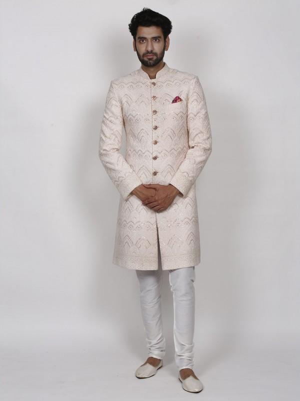 Pink Colour Lucknowi Fabric Men's Designer Sherwani.