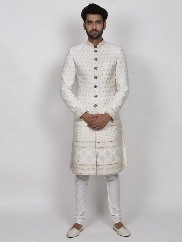Indian Wedding Sherwani Cream Colour in Silk Fabric.