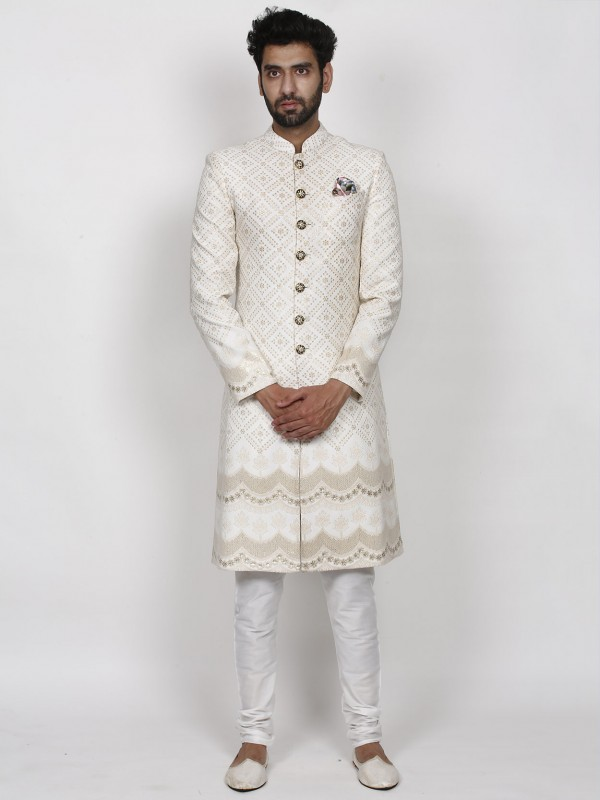 Cream Colour Lucknowi Fabric Wedding Sherwani.