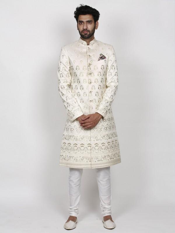Cream Colour Lucknowi,Silk Fabric Indian Designer Sherwani.