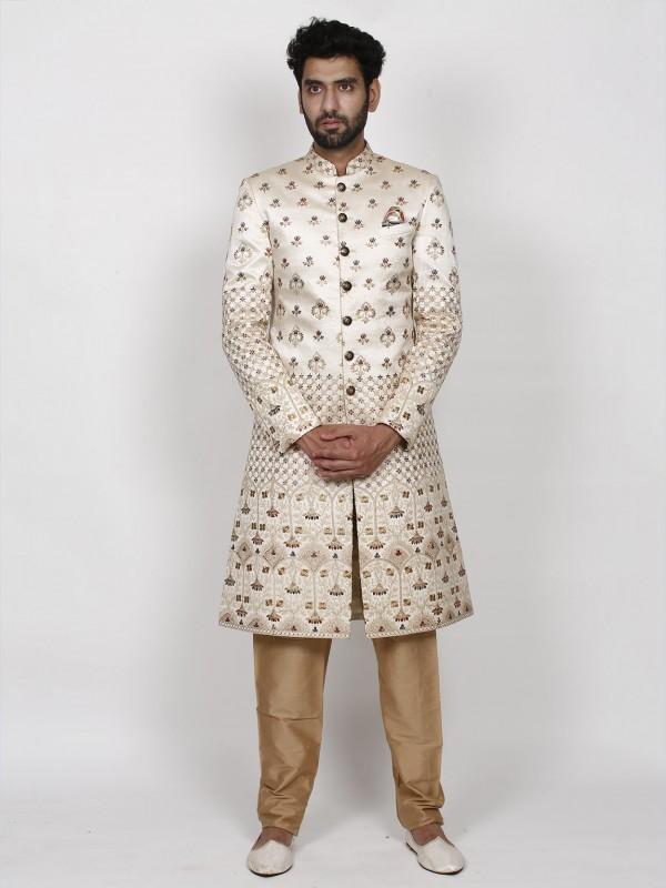 Lucknowi,Silk Fabric Men's Sherwani Cream Colour.
