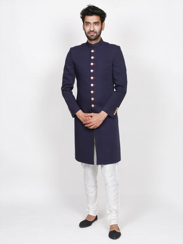 Blue Colour Imported Fabric Men's Sherwani.
