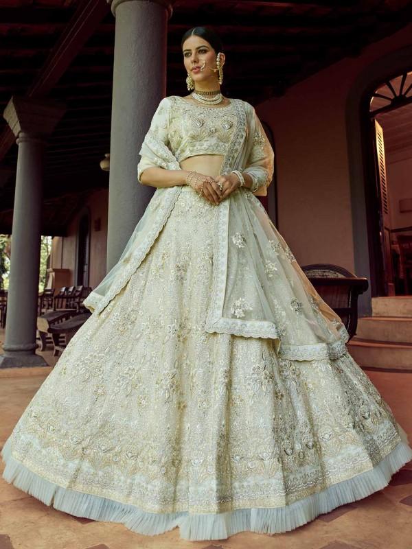 Off White Colour Designer Lehenga Choli in Georgette Fabric With Sequin,Zari Work.