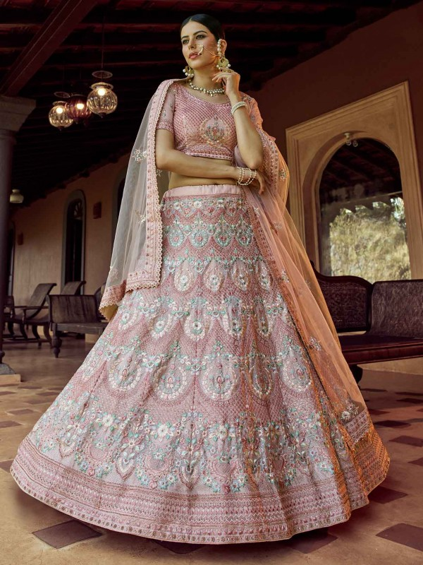 Peach Colour Wedding Lehenga Choli in Georgette Fabric With Sequin,Resham,Zari Work.