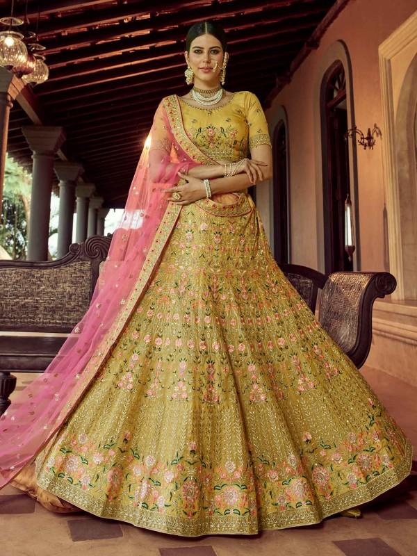 Mustard Yellow Colour Women Lehenga Choli In Organza Fabric With Resham,Zari Work.