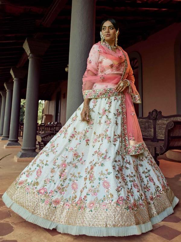 Off White Colour Designer Lehenga In Georgette Fabric With Sequin,Resham Work.