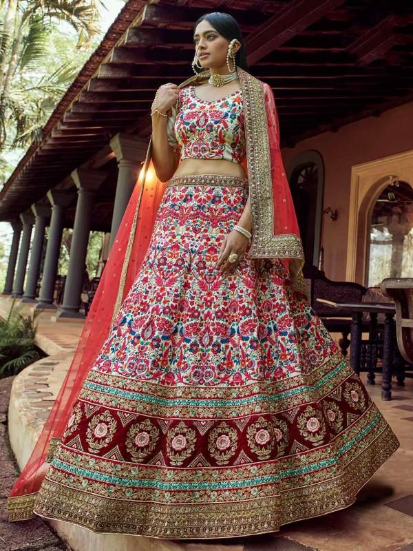 Off White Colour Wedding Lehenga Choli in Art Silk Fabric With Sequin,Resham,Zari Work.