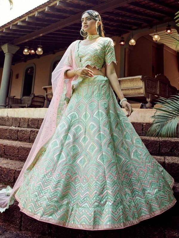 Green Colour in Organza Fabric Designer Lehenga Choli.