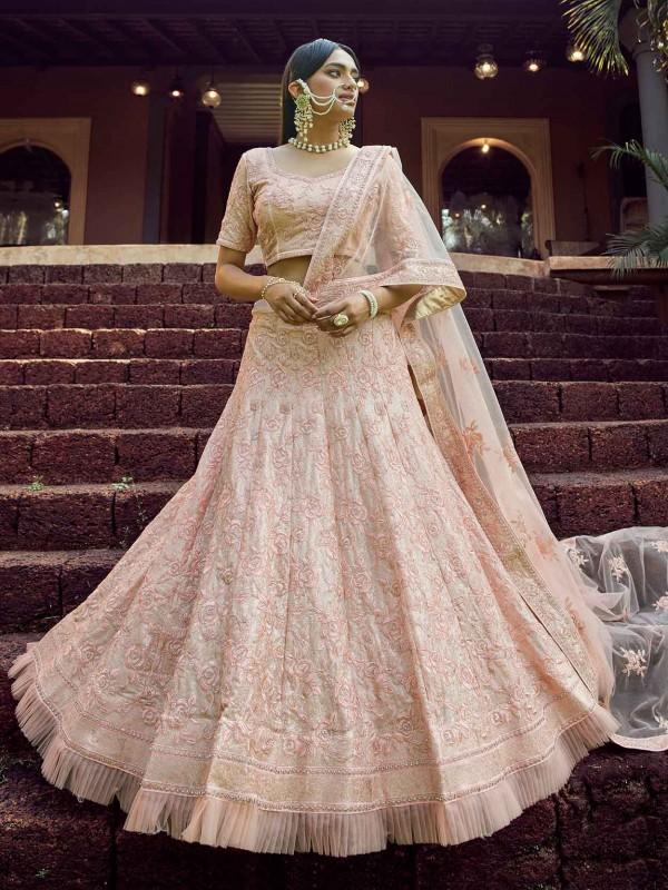 Indian Wedding Lehenga Choli Peach Colour in Georgette Fabric.
