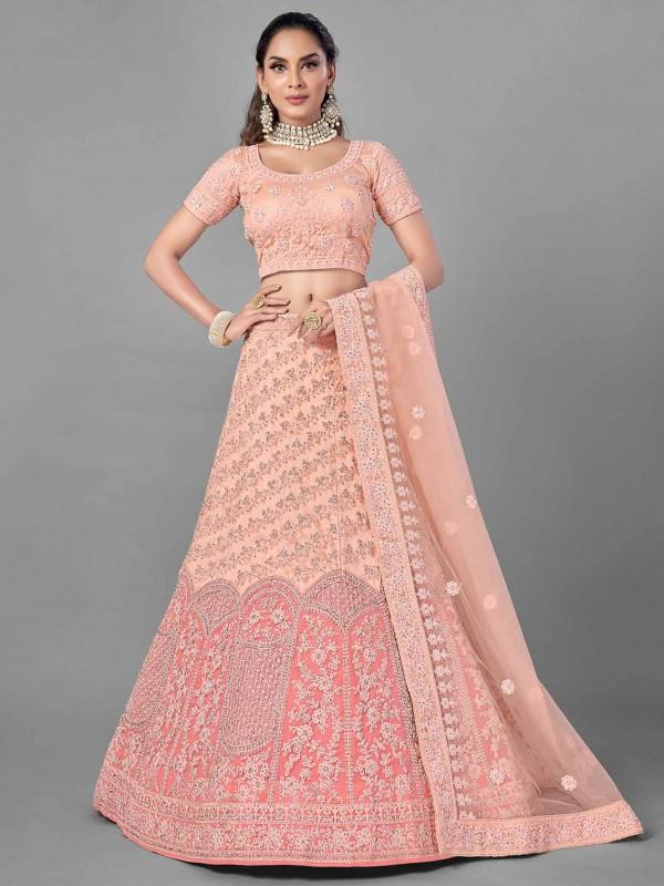 Peach Colour Net Designer Lehenga Choli.