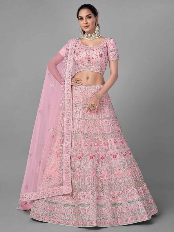 Women Lehenga Choli Pink Colour Net Fabric.