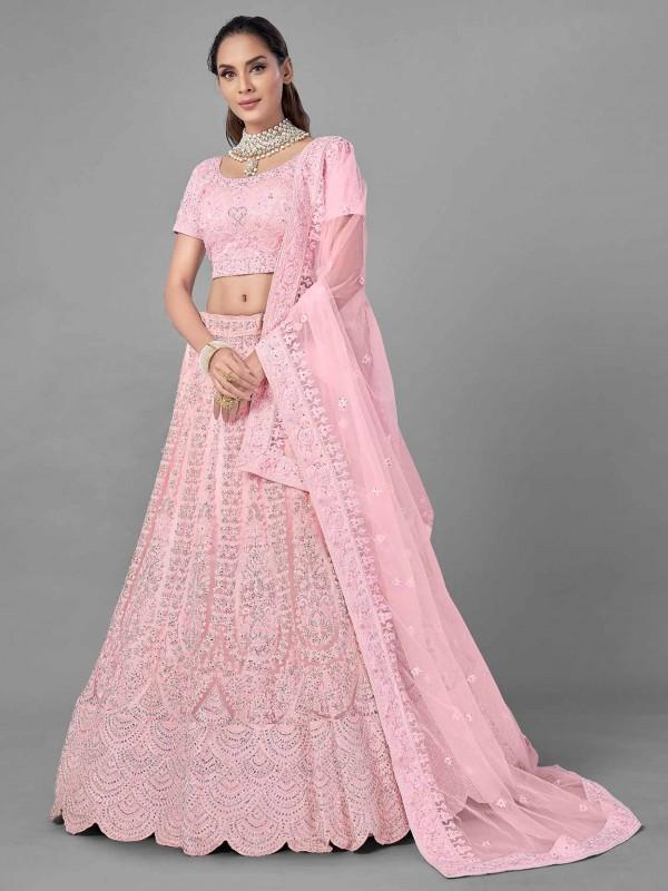 Pink Colour Net Fabric Women Lehenga Choli.