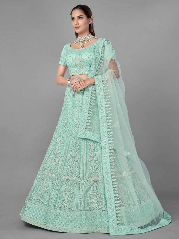 Sea Green Colour Net Fabric Designer Lehenga Choli.