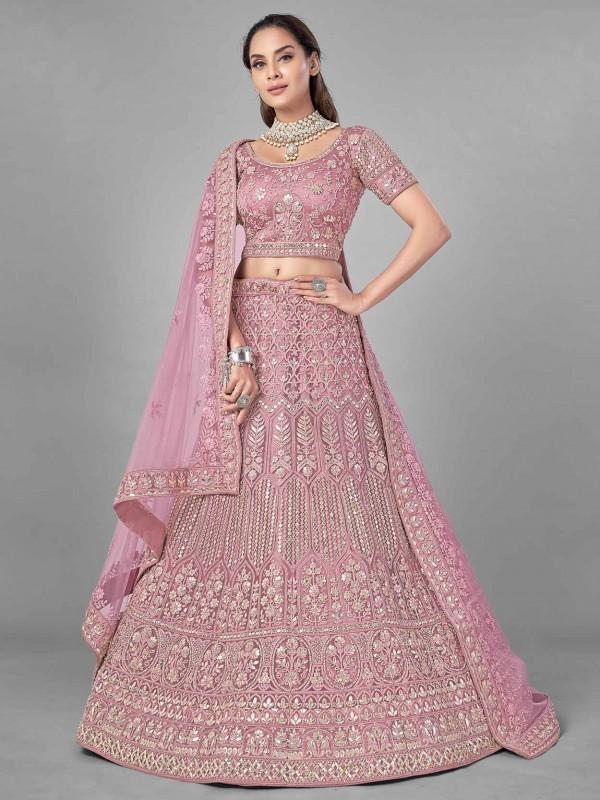 Pink Colour Net Fabric Women Designer Lehenga Choli.