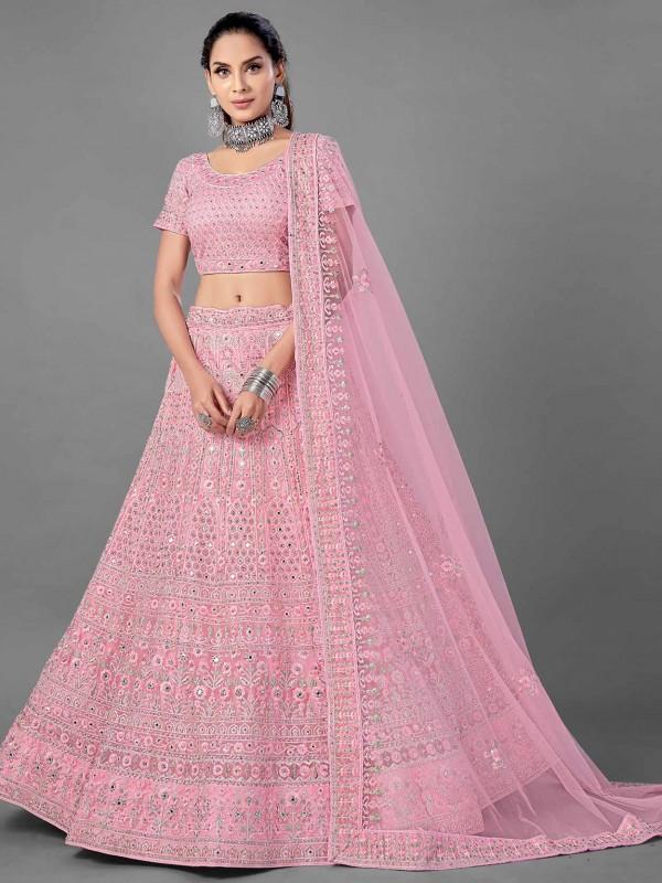 Pink Colour Net Fabric Designer Lehenga.