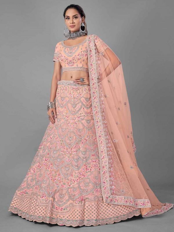 Peach Colour Net Fabric Designer Lehenga Choli.