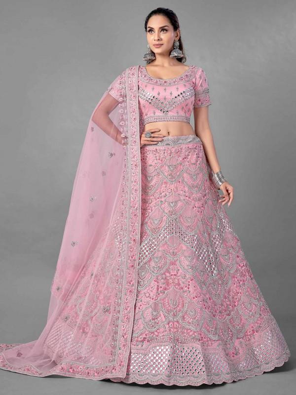 Net Fabric Designer Lehenga Choli in Pink Colour.