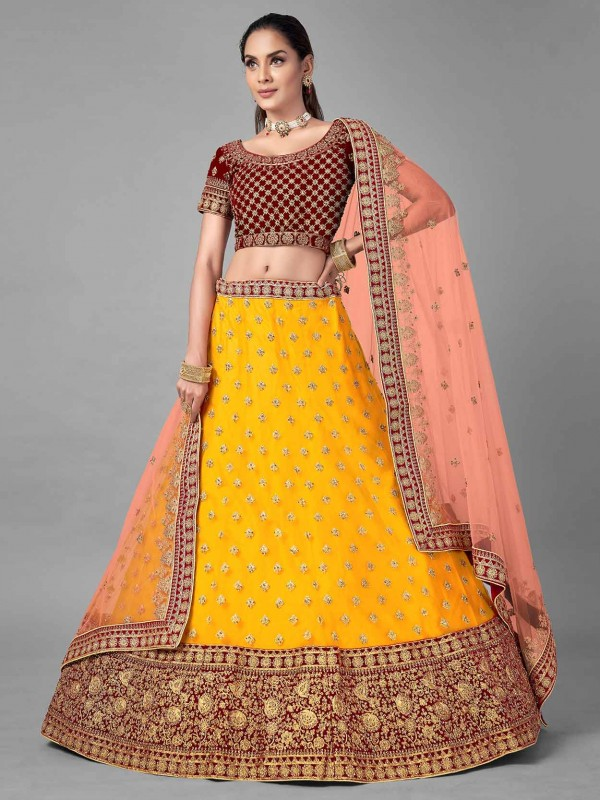 Yellow Colour Net Fabric Indian Wedding Lehenga Choli.
