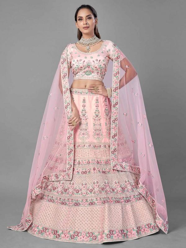 Pink Colour Net Designer Lehenga Choli.