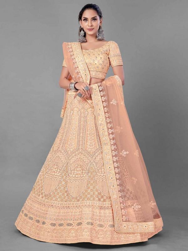 Net Fabric Women Lehenga Choli in Peach Colour.