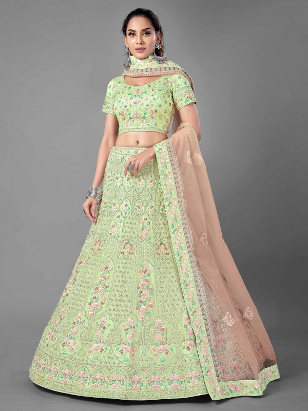 Pista Green Colour Net Fabric Indian Designer Lehenga.