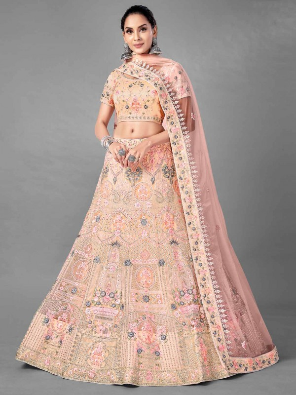 Peach Colour Net Fabric Women Lehenga Choli.