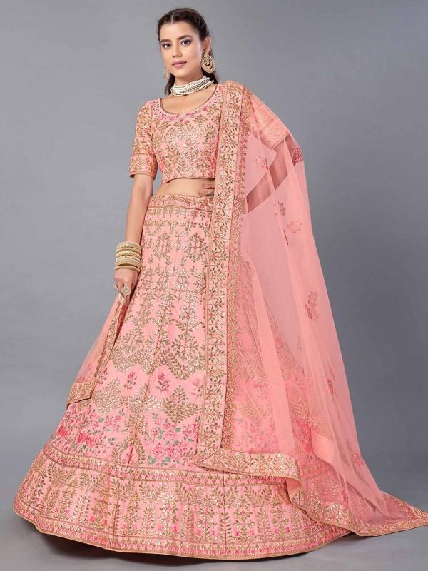 Peach Colour Art Silk Designer Lehenga Choli.