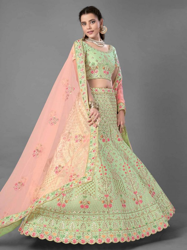 Pista Green Colour Art Silk Indian Designer Lehenga Choli.