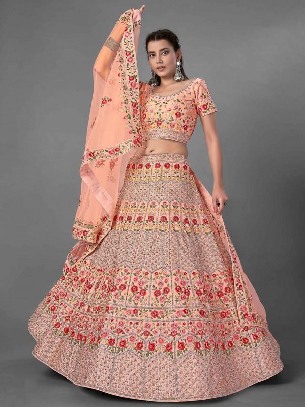 Peach Colour Art Silk Women Lehenga Choli.