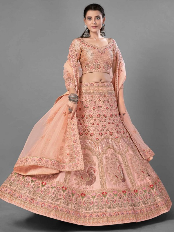 Satin Fabric Designer Lehenga Choli in Peach Colour.
