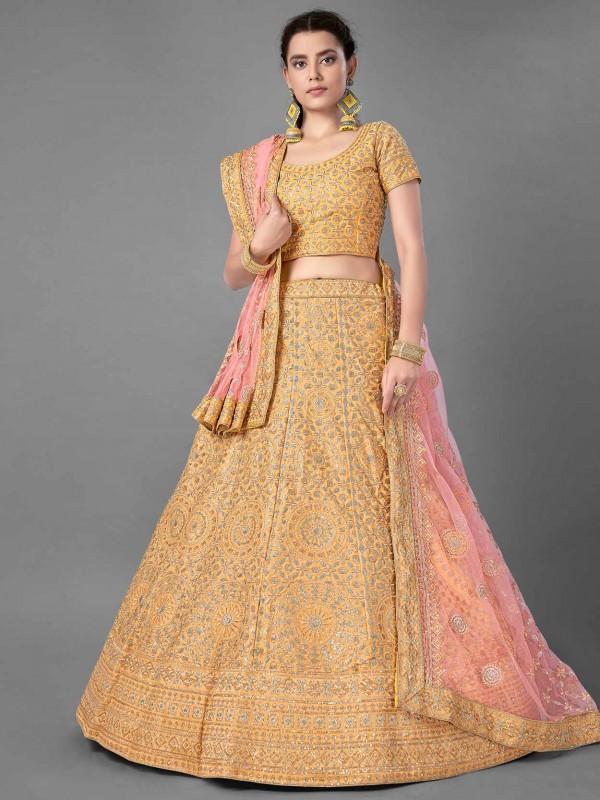 Yellow Colour Art Silk Engagement Lehenga Choli.