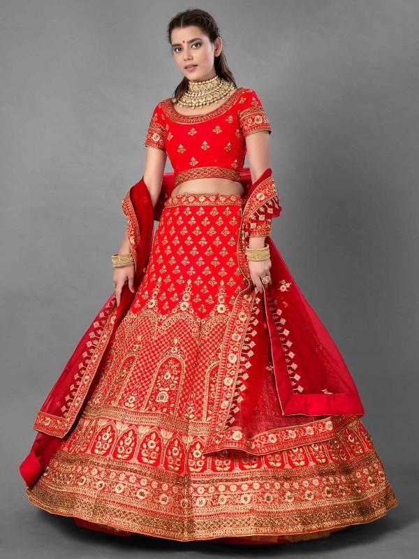 Red Colour Satin Fabric Bridal Lehenga Choli.