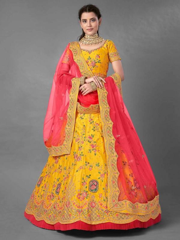 Yellow Colour Art Silk Wedding Lehenga Choli.