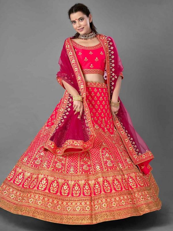 Pink Colour Designer Lehenga Choli in Satin Fabric.