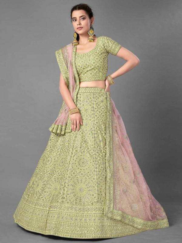 Exclusive Designer Lehenga Choli Pista Green Colour in Art Silk Fabric.