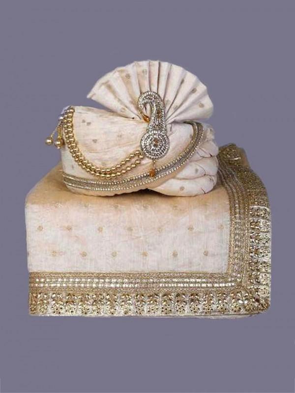 Cream Colour Silk Fabric Wedding Turban.