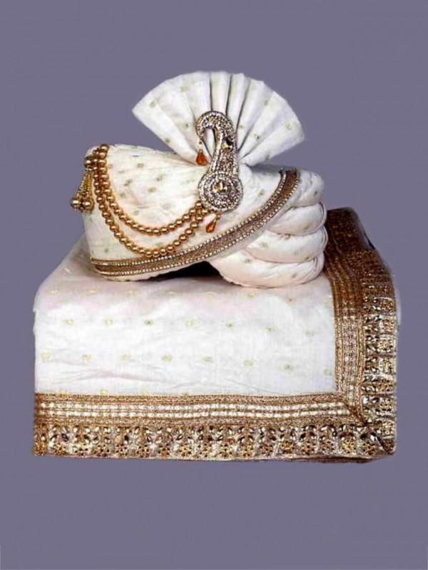 Off White Colour Silk Fabric Men's Wedding Turban.