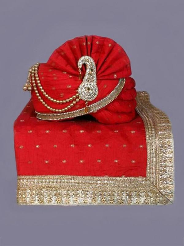 Red Colour Silk Fabric Indian Wedding Turban.