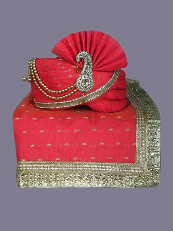 Groom Wedding Turban Red,Pink Colour Silk Fabric.