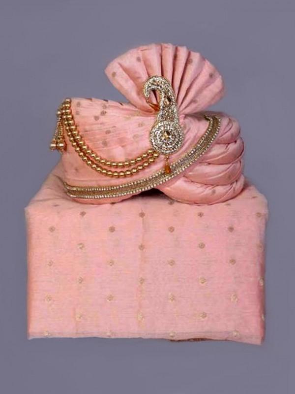Peach,Pink Colour Silk Fabric Groom Wedding Turban.
