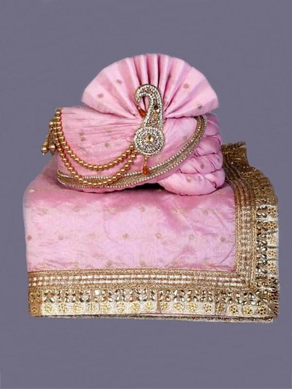 Pink Colour Silk Fabric Mens Turban.