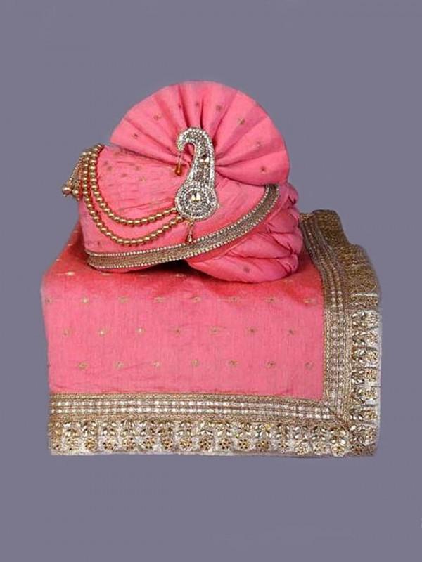 Silk Fabric Mens Wedding Turban Pink Colour.