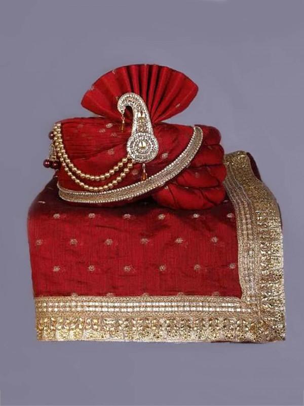 Maroon Colour Silk Fabric Groom Wedding Turban.
