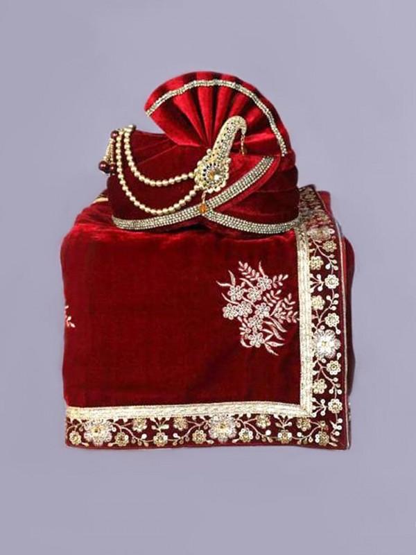 Maroon Colour Velvet Fabric Groom Sherwani Turban.