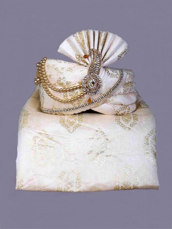 White,Cream Colour Silk Fabric Groom Turban.